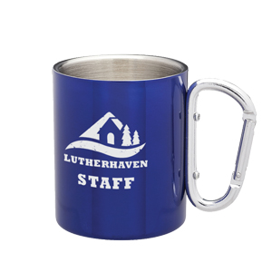 COLORED STAINLESS CARABINER MUG, 10 OZ