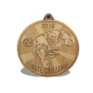 ENGRAVED WOODEN MEDAL, 2