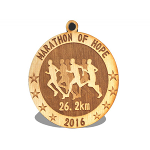 ENGRAVED WOODEN MEDAL, 2.25