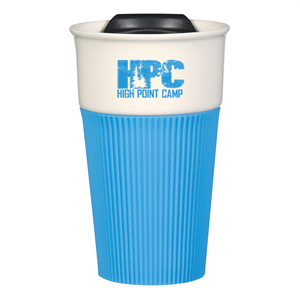 LIDDED CERAMIC SILICONE GRIP MUG, 13 OZ