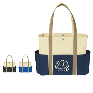 NATURAL COLOR BLOCK TOTE BAG