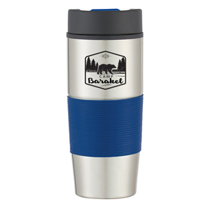 SILICONE GRIP TRAVEL TUMBLER, 18OZ