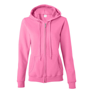 SCREENED LADIES FULL ZIP HOODIE SWEATSHIRT, 50/50