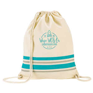 STRIPED COTTON DRAWSTRING BACKPACK, 5 OZ