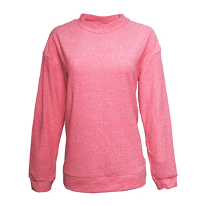 LOOPY FLEECE MOCK NECK CREW