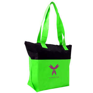 TWO TONE ZIPPERED ACCENT TOTE