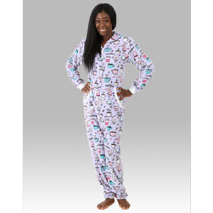 EMBROIDERED POLAR FLEECE UNION SUIT