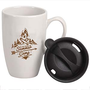 LIDDED CERAMIC VENTURE MUG, 12 OZ