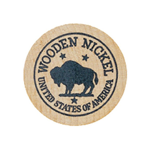 WOODEN NICKEL, 2 SIDED IMPRINT